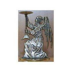 Angelo destro porta candela in ottone cm 22x13