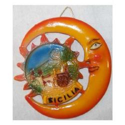 Souvenir Sole e Luna con carretto siciliano in resina B050