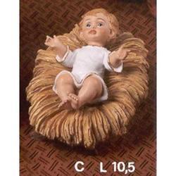 Bambinello vestito su mangiatoia cm 10.5 in resina