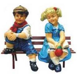 Bambini con panchina cm 60 in vetroresina