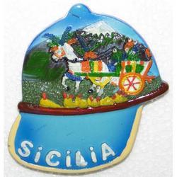 Berretto con Carretto Siciliano Souvenir resina magnete cm 7x6