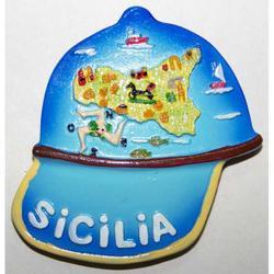 Berretto con Mappa Sicilia Souvenir resina magnete cm 7x6
