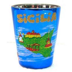 Bicchiere in vetro con Sicilia cm 6x5