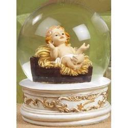 Bolla di vetro con Bambinello in resina h. cm 12