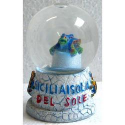 Palla di neve in vetro con Iguana in resina cm 7x4.5x4.5