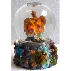 Souvenir Palla Neve in vetro con Tartarughe in resina cm 7x4.5