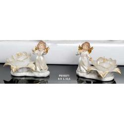 Bomboniere Angelo con candela porcellana cm 9 Set 2 pz assortiti