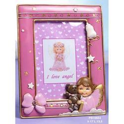 Bomboniere Portafoto Angelo rosa in resina cm 17x13.5