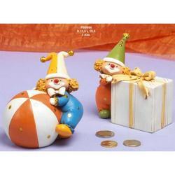 Bomboniere Salvadanaio Clown cm 11.5 Set 2 pz assortiti