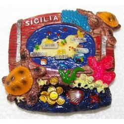 Botte con Sicilia in resina cm 7x6 con magnete
