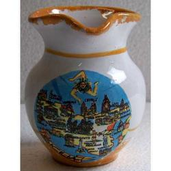 Brocca mignon con mappa Sicilia in ceramica cm 8x6