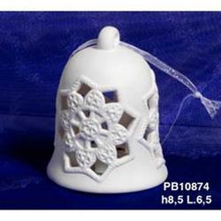 Campana Natalizia cm 8.5 in porcellana con luce