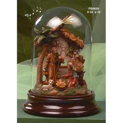 Campana in vetro con Presepe in resina e musica cm 22