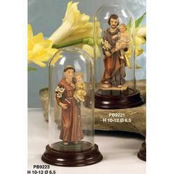 Campana di vetro con Sant Antonio in resina cm 10