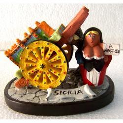 Carrettino Siciliano con Mafiosa in resina cm 9x7.5