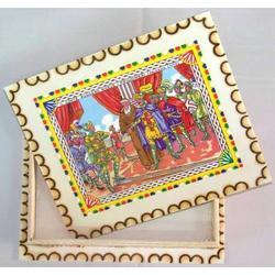 Cassettina in legno pirografata a mano mis. est. cm 30x25x8