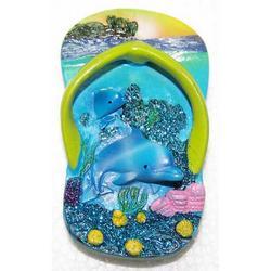 Ciabatta con due delfini souvenir resina e magnete cm 8x4.5
