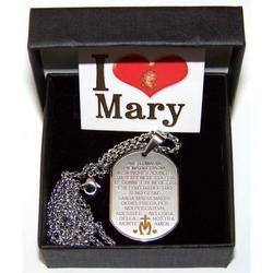 Ciondolo con catena Ave Maria incisa in acciaio inox