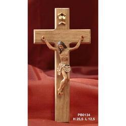 Cristo in resina con Croce in legno cm 25.5