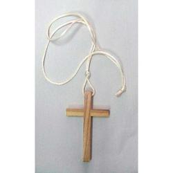 Croce in legno chiaro con laccio cm 9x5