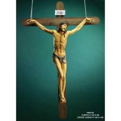 Croce di legno cm 150x100 con Cristo in resina cm 103x86