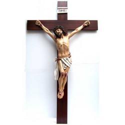 Croce in legno cm 120x70 con Cristo in resina cm 79x54
