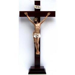 Croce in legno con base cm 71x35 Cristo resina cm 45x25
