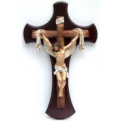 Croce in legno cm 47x30 con Cristo in resina cm 26x17