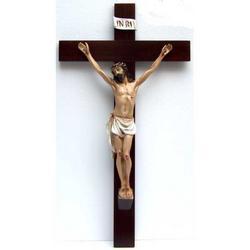 Croce in legno 66x35 con Cristo resina cm 42x25