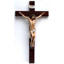 Croce in legno cm 66x35 e Cristo di resina cm 40x27