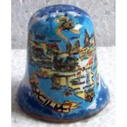 Ditale con mappa Sicilia in ceramica cm 3.5x3