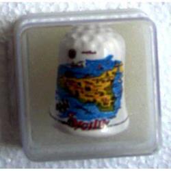 Ditale con Sicilia e Trinacria in ceramica cm 3.5x2.5 e custodia