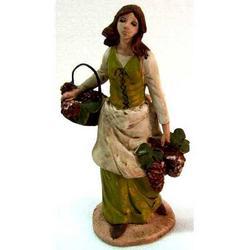 Personaggio per Presepe Donna con uva in ceramica cm 18