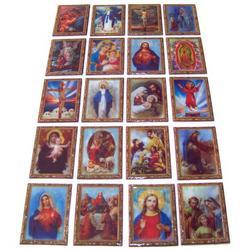 20 immagini sacre plastificate con magnete assortite cm 7.5x5.5