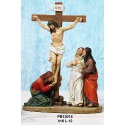 Crocifissione di Gesu con Giovanni e Maria cm 16 resina