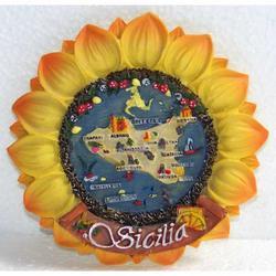 Souvenir Girasole in resina con Sicilia cm 9x9