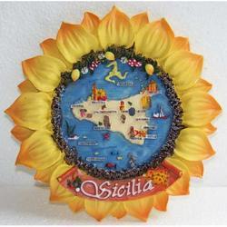 Girasole con mappa Sicilia in resina cm 14.5