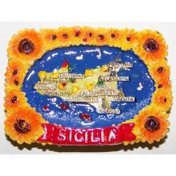 Cornice girasoli con Sicilia in resina e magnete cm 6.5x4.5