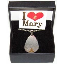 Ciondolo a goccia con catena Ave Maria incisa in acciaio inox