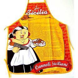 Grembiule in tessuto con ricetta cannoli siciliani cm 56x72