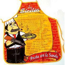 Grembiule in tessuto con ricetta di pasta con sarde cm 56x72