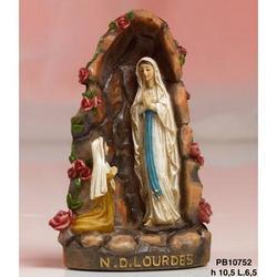 Grotta con Madonna di Lourdes e bambina cm 10.5 in resina