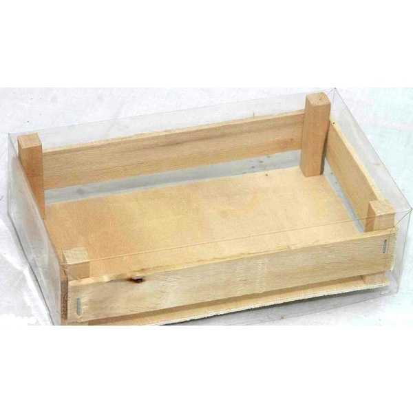 cassetta in legno con coperchio trasparente cm 11x19 mis. 2 vendita