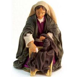 Personaggio per Presepe Lavandaia in terracotta e stoffa cm 22