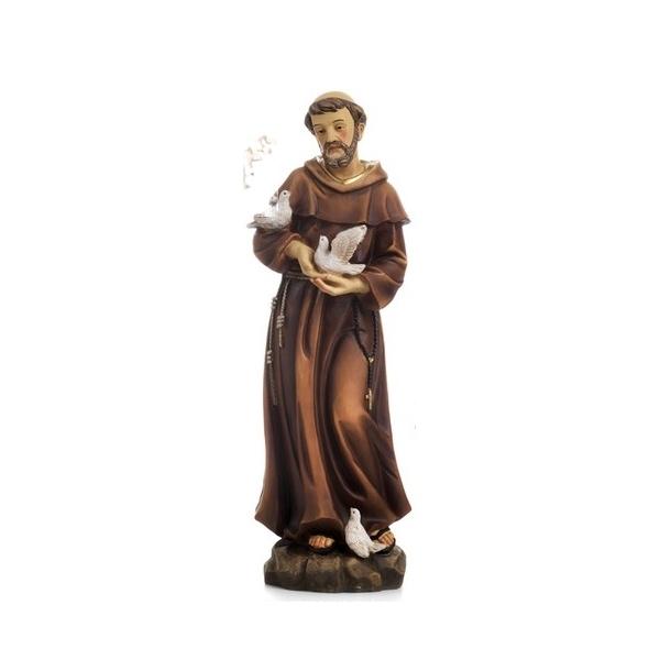 Statua San Francesco Assisi cm 30 in resina