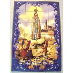 Mosaico Madonna Fatima e pastorelli 24 piastrelle ceramica