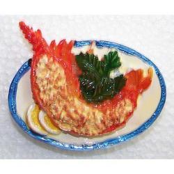 Magnete piatto con aragosta aperta cm 6.5 in resina