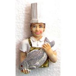 Magnete cuoco con pesce cm 7 in resina