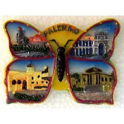 Farfalla monumenti di Palermo in resina e magnete cm 7x5