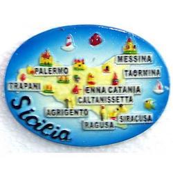 Magnete ovale Sicilia cm 7.5x5.5 in resina